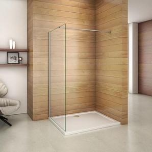 760x1850x6mm paroi de douche walk in verre anticalcaire avec barre fixation 360¡ã - AICA SANITAIRE