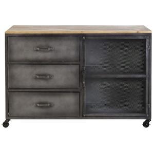 Cabinet de rangement 3 tiroirs 1 porte en métal et sapin Rebel