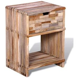 Table de nuit chevet commode armoire meuble chambre avec tiroir bois de teck recyclé - Bois - HELLOSHOP26