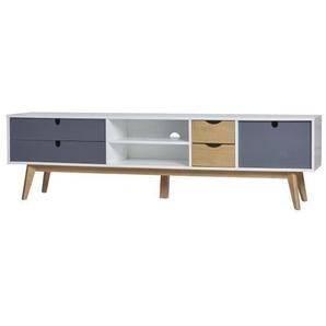 LILA Meuble TV 1 porte 4 tiroirs en pin massif - Blanc et gris anthracite ciré - L 180 x P 37 x H 50 cm