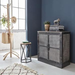 Buffet carré industriel 2 portes bois métal patine grise