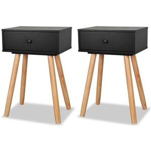 Table de nuit chevet commode armoire meuble chambre 2 pcs bois de pin massif 40 x 30 x 61 cm noir - Bois - HELLOSHOP26