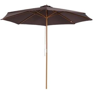 Parasol rond grande taille diamètre 3 m bois polyester haute densité chocolat - Outsunny