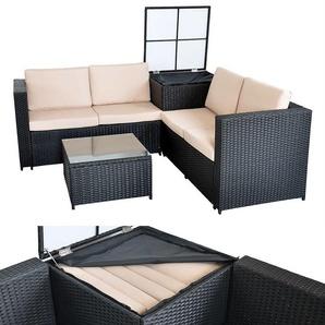 XXL meubles en osier jardin canapé salon, lot de jardin, noir, boîtier garniture - MUCOLA