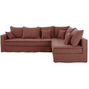 Canapé dangle droit 5 places en lin épais rouge rhubarbe Célestin