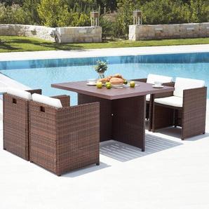 Sunset 4 : salon de jardin encastrable 4 places en résine tressée et aluminium marron/blanc