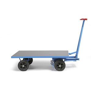EUROKRAFT Chariot à avant-train pivotant - force 1000 kg - plateau 2000 x 1000 mm, roues à bandage caoutchouc
