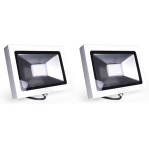 2×Auralum 50W Projecteur LED Ultraléger Spot LED IP65 3700LM Lumière Extérieur et Intérieur Blanc Froid 6000-6500K avec Coque Blanche