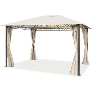 Pavillon de Jardin tonnelle Premium imperméable de 3x4 m avec Tente de Jardin à 4 côtés bâche de Toit 280 g/m² en Tente de réception Beige - INTENT24.FR