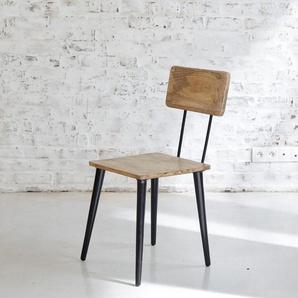 Chaise naturelle bois et métal piétement compas