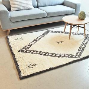 Tapis esprit berbère tissé main 100% laine rectangulaire motif losange central charbon fond écru 140x200 cm