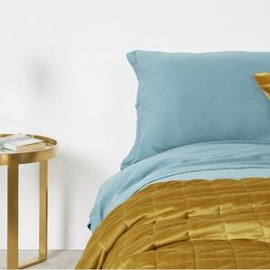 Julius couvre-lit 225 x 220 cm en velours or patiné - Couvre-lits et plaids - Linge de maison