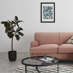 Orson, canapé d'angle avec méridienne à droite, velours rose vintage