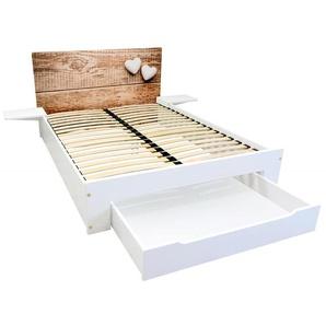 Lit Happy + tiroirs + chevets amovibles - 2 places 140x190 Bois coeur