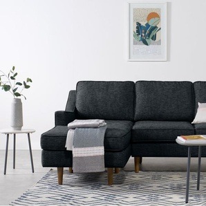 Dallas, canapé d'angle avec méridienne à gauche, tissé texturé bleu marine