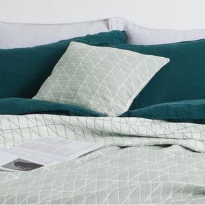 Inga, couvre-lit 100% coton effet délavé 225 x 220 cm, vert paon