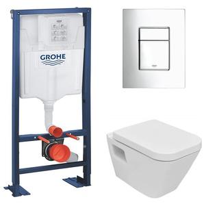 Grohe Rapid SL + WC suspendu Diagonal DG10/abattant frein de chute + Plaque de commande + Set disolation phonique (AutoportantDG10)