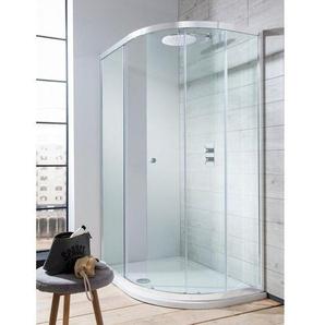 Simpsons Edge Cabine de douche 195x100x80cm quart de rond porte glissante profil argent verre transparent EQSSC10X8