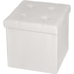 Pouf Coffre de rangement Cube Pliable 38 cm x 38 cm x 38 cm Blanc - TECTAKE