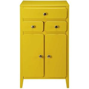 Meuble dentrée 2 portes 3 tiroirs jaune moutarde Thelma
