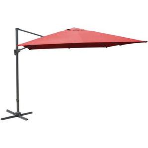 Parasol rouge déporté inclinable manivelle 3x3m