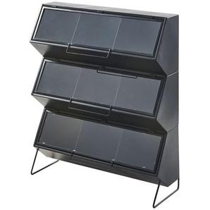 Etagère en métal noir 3 portes en verre