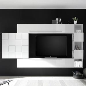 Meuble TV suspendu blanc laqué LICATA