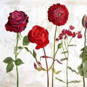 Affiche 50x100 cm Le jardin aux fleurs rouges / Garden with red Flowers / Garten mit roten Blumen Valérie ROY (1965-2010)