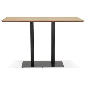 Table haute design ZUMBA BAR en bois finition naturelle avec pied en métal noir - 180x90 cm
