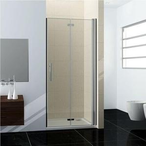 70x195cm porte de douche en niche porte de douche à charnière verre clair trempé sécurit - AICA SANITAIRE