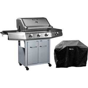 Barbecue Gaz avec LED Bingo 4 - 4 brûleurs dont 1 latéral - 14kW + Housse protection - Argenté - HABITAT ET JARDIN