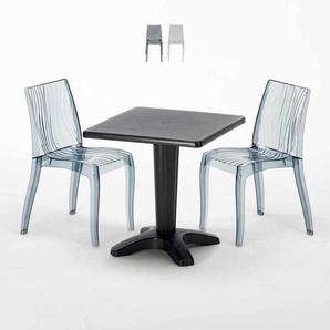 Table Carrée Noire 70x70cm Avec 2 Chaises Colorées Grand Soleil Set Bar Café DUNE BALCONY | Noir Anthracite Transparent