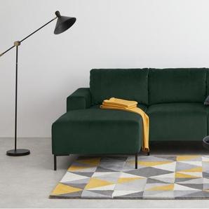 Frederik, canapé d'angle 3 places compact avec méridienne à gauche, velours vert sapin