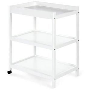 Table à langer à roulettes - Blanc,Pin,Gris
