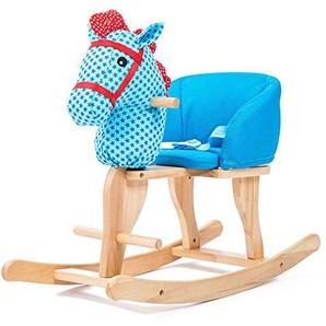 Yingeryaoyi Cheval de Troie cheval à bascule double usage en bois massif musique cheval à bascule bébé Bébé cadeau danniversaire (Couleur : Bleu)