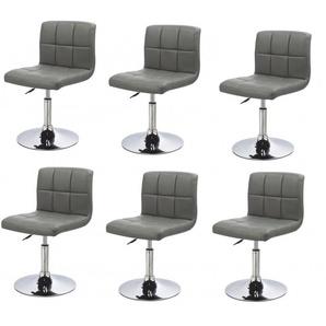 Lot de 6 chaises de salle à manger / cuisine simili-cuir gris hauteur réglable - DéCOSHOP26