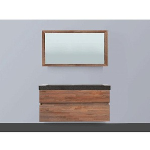 Saniclass Natural Wood Meuble salle de bain avec miroir 120cm suspendu Grey Oak avec vasque en pierre naturelle Grey Stone SW8086