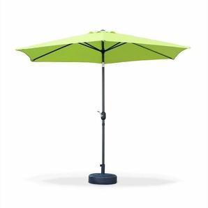 Parasol droit Touquet rond ⌀300cm Vert Pomme, mât central aluminium orientable et manivelle douverture - ALICES GARDEN