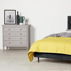 Skye, lit super king size (180 x 200) avec sommier, velours gris foncé