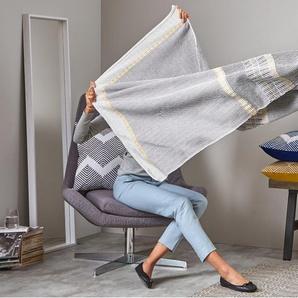Ryker, plaid en coton tissé 130 x 170 cm, gris multi-tons