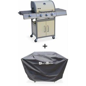 Barbecue gaz inox 14kW – Richelieu ivoire – Barbecue 3 brûleurs + 1 feu latéral,grill et plancha, housse - ALICES GARDEN