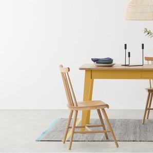 Ralph, table compacte, chêne et fini jaune moutarde