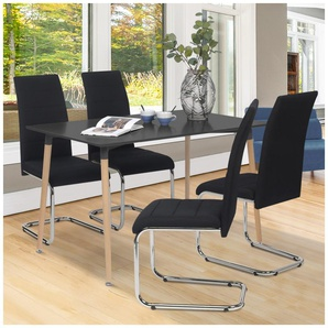 Lot de 4 chaises MIA en tissu noir pour salle à manger - IDMARKET