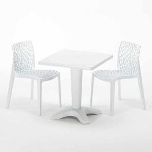 Table Carrée Blanche 70x70cm Avec 2 Chaises Colorées Grand Soleil Set Bar Café GRUVYER PATIO | Blanc