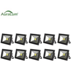 10×Auralum 50W Projecteur LED IP65 Spot LED 4200-5000LM Éclairage Extérieur et Intérieur Blanc Froid 6000-6500K Coque Noir
