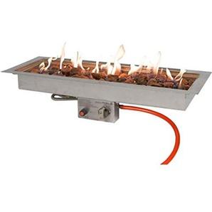 Easyfires Brûleur à gaz rectangulaire en Acier Inoxydable 76 x 26 cm