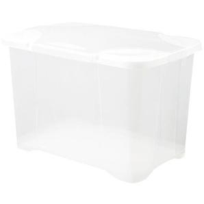 EDA PLASTIQUE Boîte de rangement ClipBox 60 L - Naturel couvercle avec charnière - 58.6x39x39.5cm