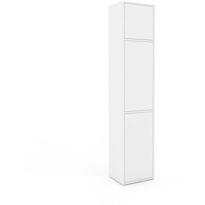 Meuble de rangements - Blanc, moderne, pour documents, avec porte Blanc - 41 x 195 x 35 cm, personnalisable