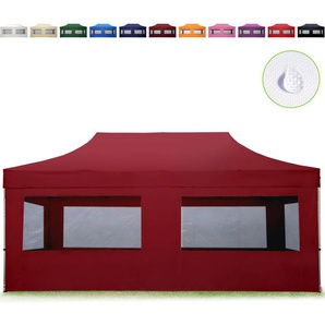 Tente Pliante 3x6 m - 4 côtés Aluminium Barnum Chapiteau Pliant Tonnelle Stand Paddock Réception Abri Rouge - INTENT24.FR