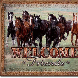 Welcome Friends Horses Plaque métal plat Nouveau 31x40cm VS3362